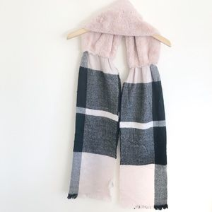 Anthropologie Blush Fur Collared And Plaid Scarf